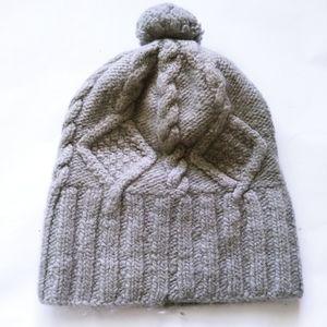 Woman Gray Knit Hat Pom pom